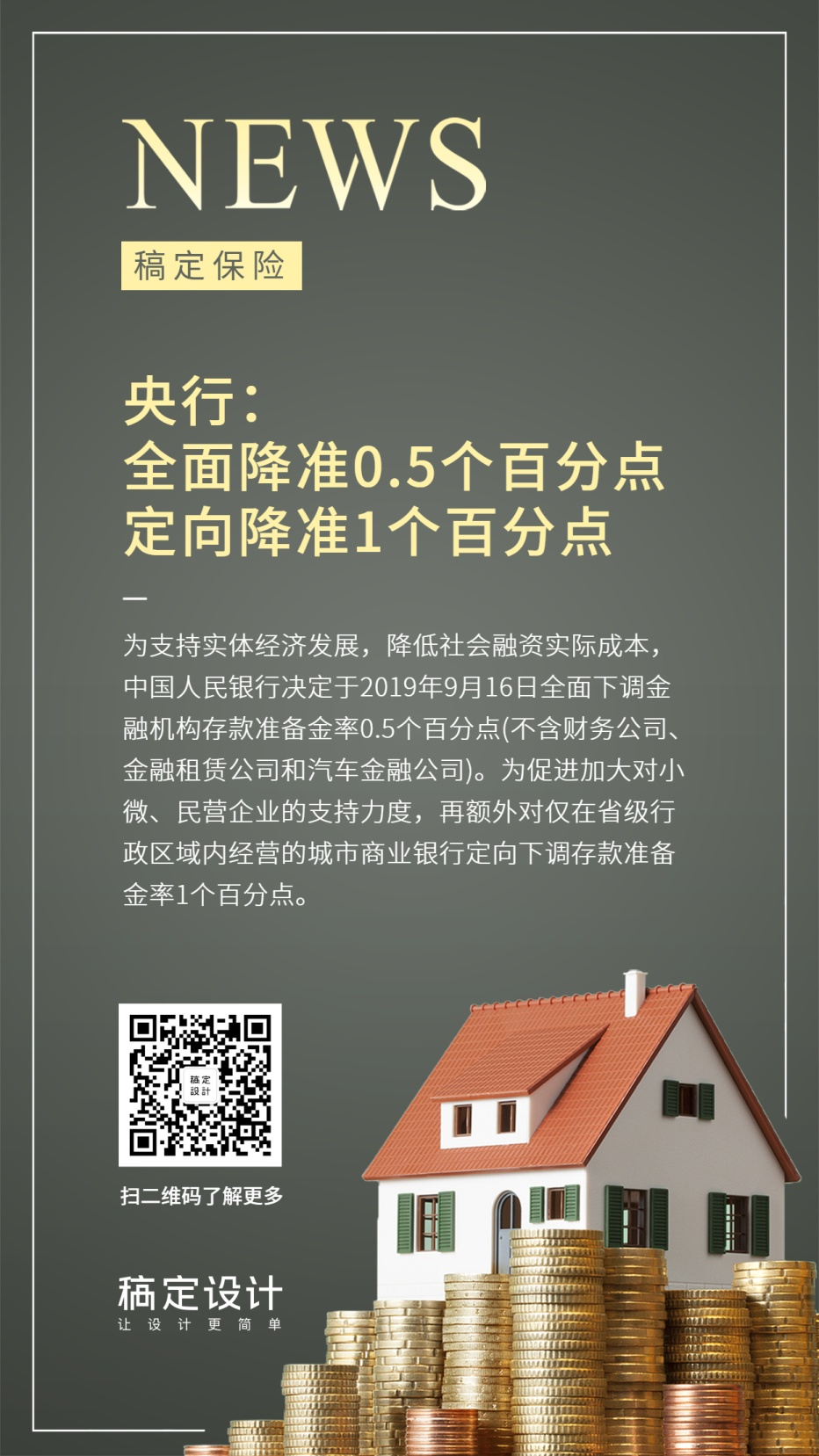 金融热点事件降息新闻手机海报