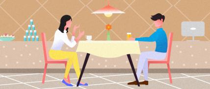情侣餐饮纯插画无文字公众号首图