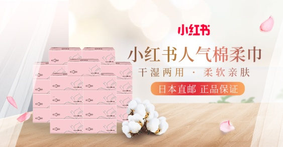 小红书/日用品/棉柔巾海报