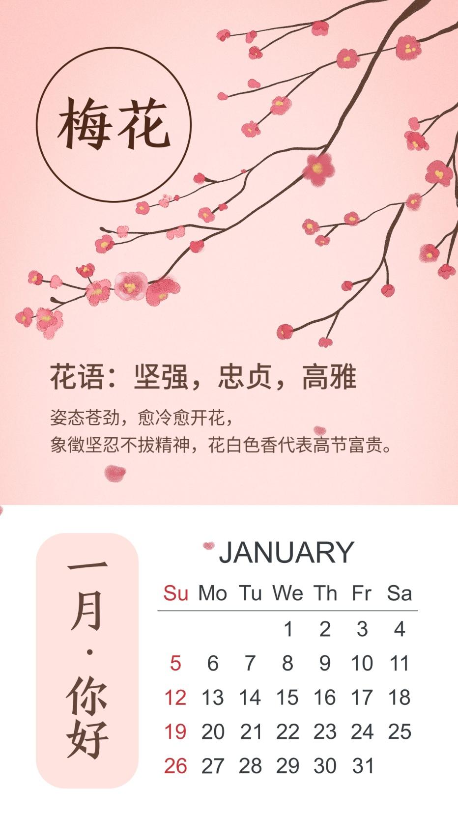 一月你好月初问候1月你好梅花日历手机海报