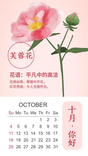 十月月签问候手绘日历花朵手机海报
