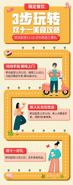 双十一/餐饮美食/活动介绍/卡通手绘/长图海报