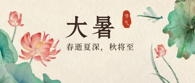 大暑节气中国风莲花水墨公众号首图