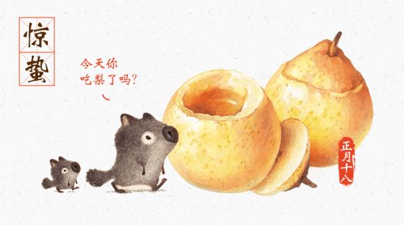 惊蛰吃梨了吗横版海报