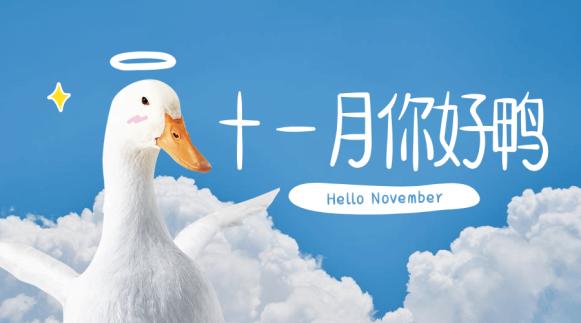 十一月你好鸭清新横版海报