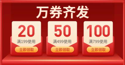 低价风暴/喜庆风满减优惠券