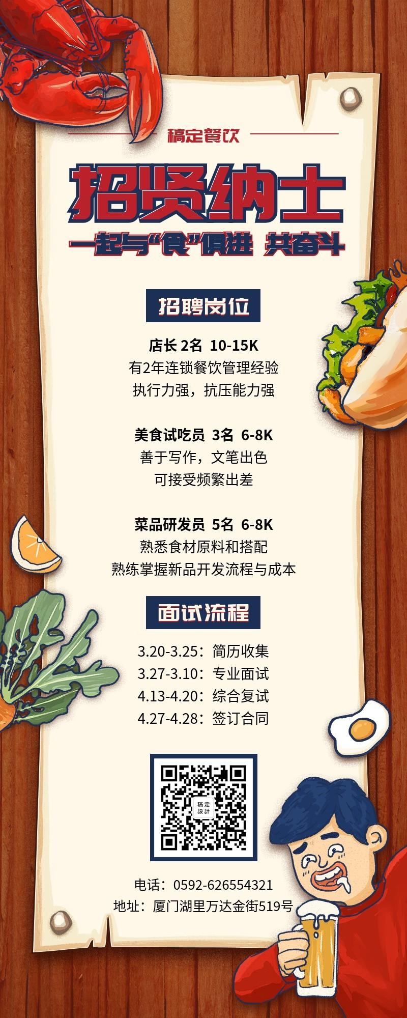 餐饮店招贤纳士招聘长图