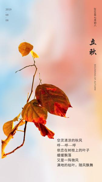 立秋节日节气唯美小清新树叶手机海报