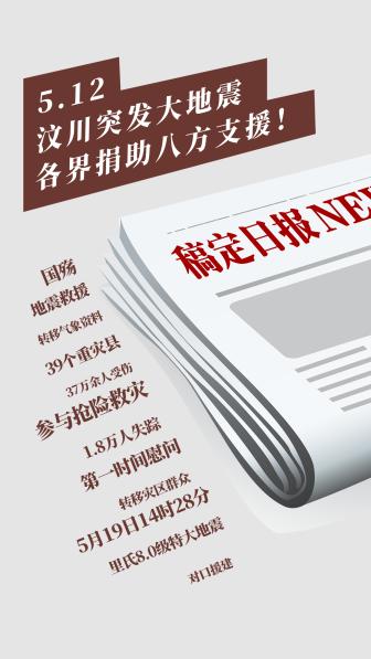 5.12汶川大地震日报突发通知公告创意手机海报