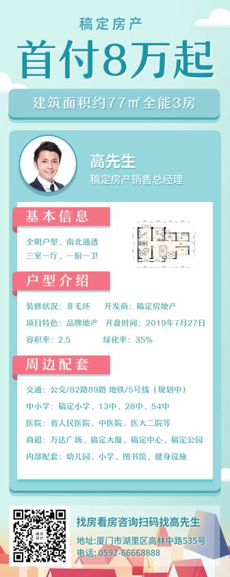 房地产/简约清新/产品介绍/长图海报