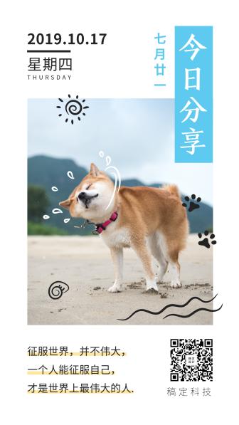 萌宠宠物店实景日签分享手机海报