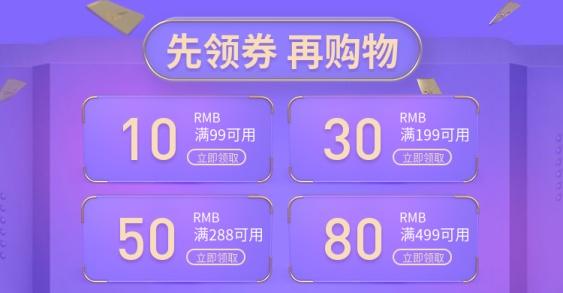 紫色科技风优惠券